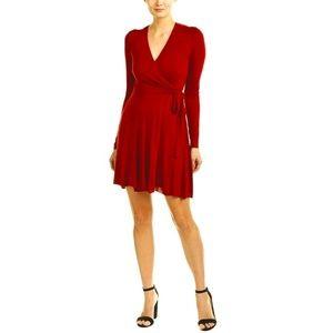 Bailey 44 Red Faux Wrap Jersey Sweetheart Dress S